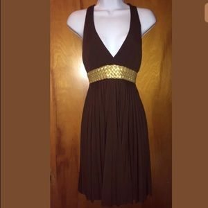 Dresses & Skirts - Pretty Brown and Gold Halter Dress Medium